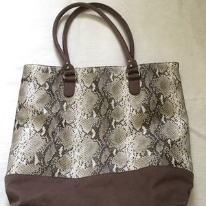 Snake print canvas tote